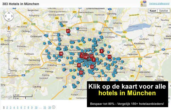 kaart hotels München Zuid Duitsland