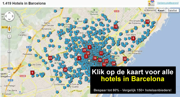 kaart hotels barcelona centrum