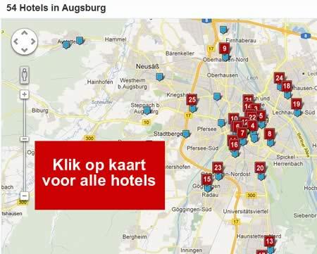 kaart alle hotels augsburg A8 duitsland