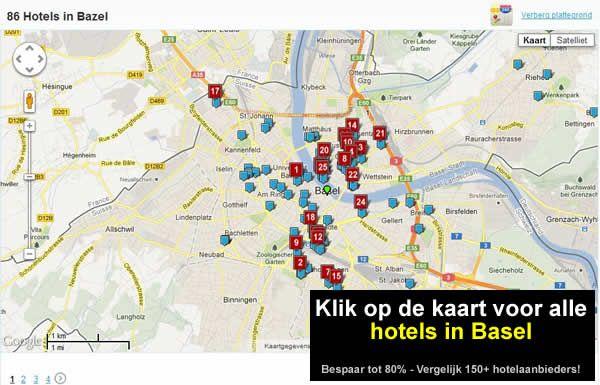 kaart hotels basel of bazel zwitserland