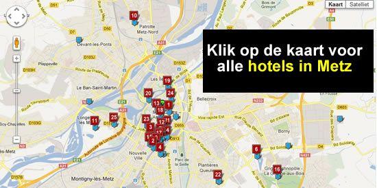 kaart hotels Metz Frankrijk