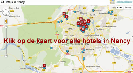 Kaart hotels Nancy Frankrijk