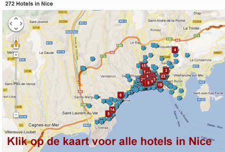 kaart hotels Nice Frankrijk