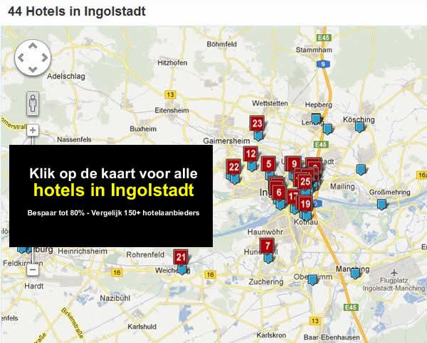 kaart Hotels in Ingolstadt Duitsland A9, E45