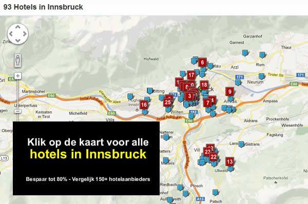 hotel kaart innsbruck, tirol, oostenrijk, A12, A13