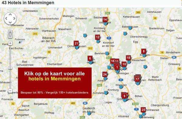 hotel kaart Memmingen Zuid Duitsland