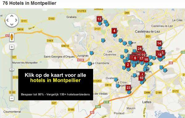 hotel kaart Montpellier Frankrijk