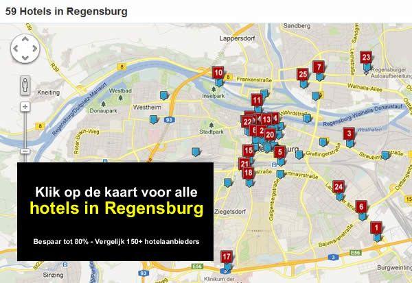 hotel kaart regensburg A3, E45, A93 Duitsland