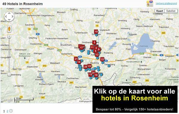 kaart Rosenheim A8, A93, E52, E60, E45 in Zuid Duitsland