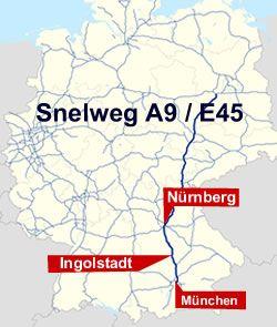 snelweg A9 Nurnberg - Ingolstadt Munchen