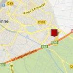 kaart Narbonne A9, E15, A61 en E80 Frankrijk