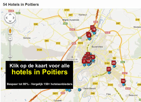 kaart Poitiers met hotels Frankrijk