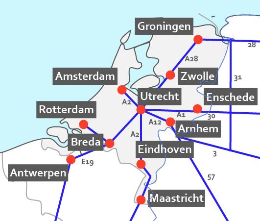Nederland hotelkaart